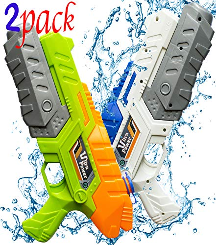 Water Gun Blaster - Super Soaker Water Squirt Guns for Kids Adults Shooters Watergun Long Range Outdoor Swimming Pool Beach Fighting Water Toys - 2 Pack