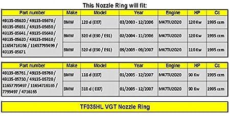 Amazon.com: GOWE Turbocharger Turbo Nozzle Ring for Turbocharger Turbo TF035HL 49135-05620 / 49135-05670 / 49135-05671 4913505650 / 4913505641 Nozzle Ring ...