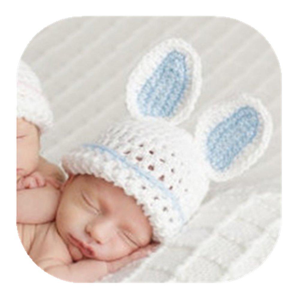 Amazon.com   Newborn Baby Photography Prop Boy Girl Photo Shoot Outfits  Crochet Knit Cute Christmas Bunny Hat Photo Props Easter Costume (Rabbit  Blue hat) ... aba03e41228c