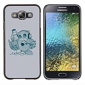 "Be-Star Único Patrón Plástico Duro Fundas Cover Cubre Hard Case Cover Para Samsung Galaxy E5 / SM-E500 ( Búho del arte del pájaro Dibujo Auriculares Pistolero Lápiz"" )"