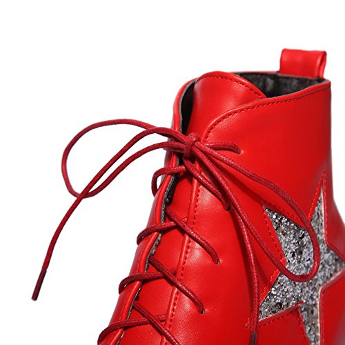 Shoes Boots Solid Bandage Red Girls Heel Wheeled Imitated AdeeSu Leather IfSPqc