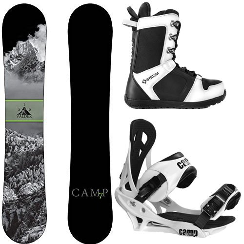 Camp Seven Package Valdez CRC Snowboard-158 cm Wide Summit Bindings-System APX Snowboard Boots 8