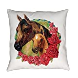 Royal Lion Burlap Suede or Woven Throw Pillow Horses and Roses - Outdoor, 20 Inch