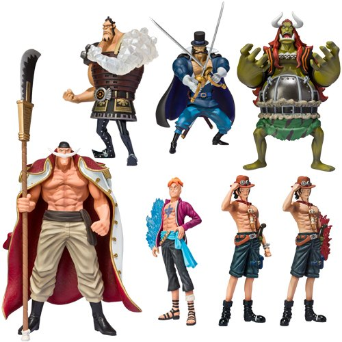 [Bandai Tamashii Nations One Piece White Beard Pirates Chozoukei Damashii Toy Figures, Set of 8] (Japanese Beard)