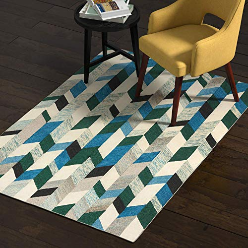 - Rivet Modern Chevron Wool Rug, 4' x 6', Blue, Green, Ivory