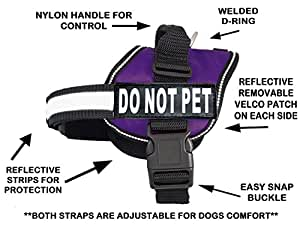 DO NOT PET Dog Vest Harness with Removable velcro Patches and reflective trim. Comes with 2 DO NOT PET reflective velcro pathces. Please measure dogs girth before purchase (Girth 28-38, Purple)