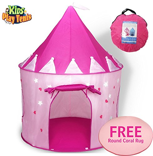 (Girl's Crown Play Tent and a Round Coral Rug - Foldable Pop Up Pink Kids Play House Toy for Indoor & Outdoor Use - Beautifu Fairy Princess Castle,Conveniently Folds in to a Carrying Case)