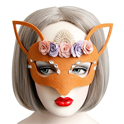 Fox Costume Mask for Women Cute, Halloween Masquerade Funny Animal Masks Yellow (Yellow) -