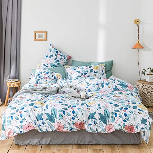 mixinni 3 Pieces Floral Duvet Cover Set Queen/Full Flowers Leaves Garden Printed Comforter Cover Set for Girls Women with Hidden Zipper and Corner Ties-Queen/Full Size ()