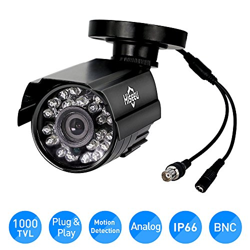 Tvl Bullet Camera - Hiseeu HD 1000 TVL 24PCS IR LEDS Surveillance MINI CCTV Camera 3.6mm Lens with IR CUT Bullet Outdoor Security Camera, Aluminum Metal Housing, Surveillance Camera for Home