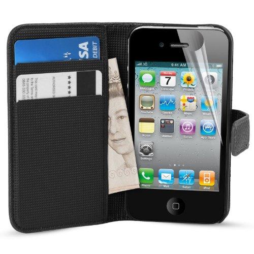 MadCase® Premium Apple iPhone 4s / 4 PU Leder Kredit Karte Geldbörse Schutzhülle mit Displayschutzfolie & Eingabestift - Schwarz