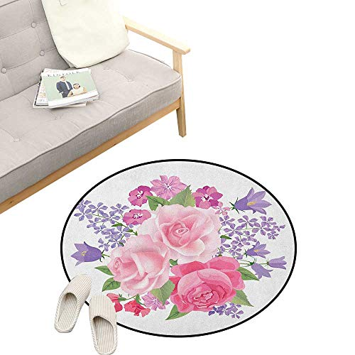 Pink and White Round Rug ,Bridal Bouquet with Booming Flowers Rose Lavender Violet Corsage, Flannel Microfiber Non-Slip Soft Absorbent 23