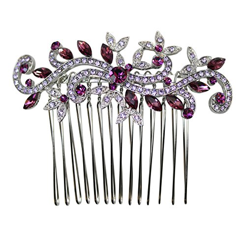 Faship Purple Crystal Floral Hair Comb - ()