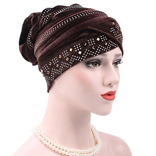 Hat Bowler Velvet (Coohole Fashion Women's Muslim Stretch Turban Hat Velvet Hair Loss Head Scarf Wrap (Coffee))