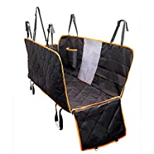 Dog Seat Cover With Side Flaps, Dog Viewing Window - Large Back Seat Cover with Mesh Barrier - Hammock Pet Car Seat Cover With Seat Anchors for Cars, Trucks, SUV - Non Slip Waterproof Machine Washable