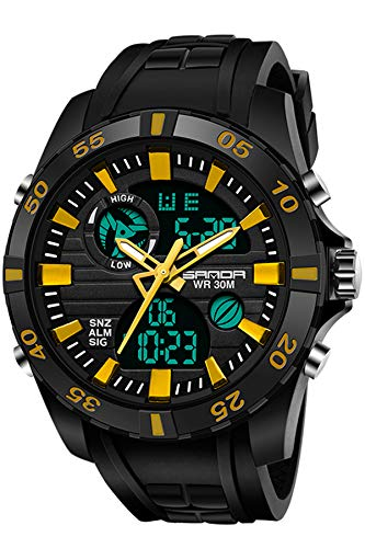 Watches for Men Digital Analog Military Sport Outdoor Big Face Black Mens Wristwatch Dual Time LED Backlight Calendar Water Resistant