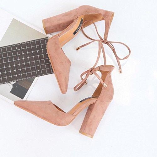 FEITONG Sandalias de mujer Zapatos De Verano Mujer Señoras Zapatillas Sexy Zapatos de tacón alto Caqui