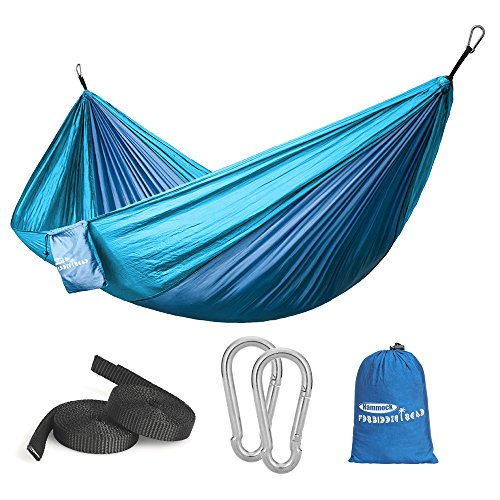 Forbidden Road Hammock Single & Double Camping Portable Parachute Hammock for Outdoor Hiking Travel Backpacking - 210D Nylon Taffeta Hammock Swing (Dark Bule & Baby Blue) by Forbidden Road