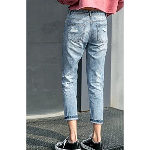 low-cost ZhiYuanAN Mujer Vaqueros Rectos Con Parches Moda Rasgados Jeans  Boyfriend Casual Baggy Rotos aa0a7b6f2521