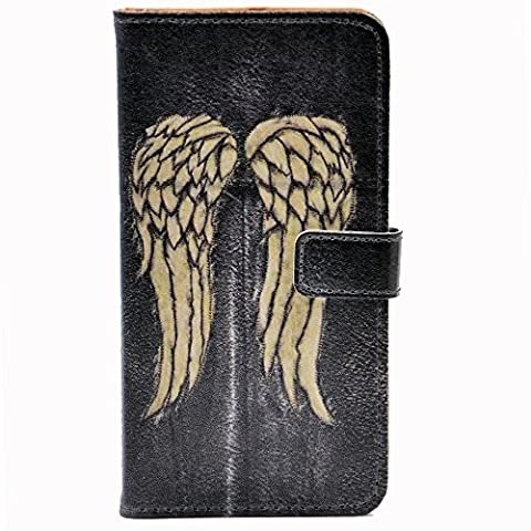 iphone 7 Case - Unique Wings Pattern Slim Wallet Card Flip Stand PU Leather Pouch Case Cover For Apple iphone 7 New Arrival - Cool as Great (Wing Phone Covers)