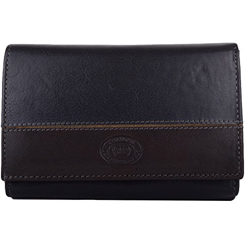 Womens Soft Leather Tri-Fold Matinee Style Purse/Wallet/Holder - Navy/Grey ()