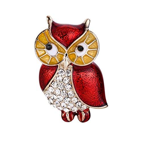 EVER FAITH Austrian Crystal Red Enamel Lovely Owl Bird Animal Brooch Pin Clear Gold-Tone