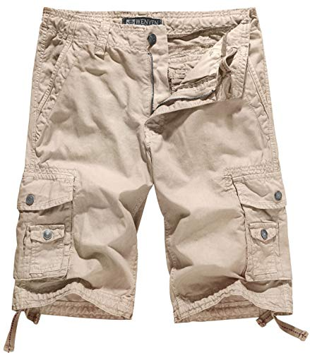 - WenVen Men's Cotton Twill Cargo Shorts Outdoor Wear Lightweight (No.4 Khaki,30)