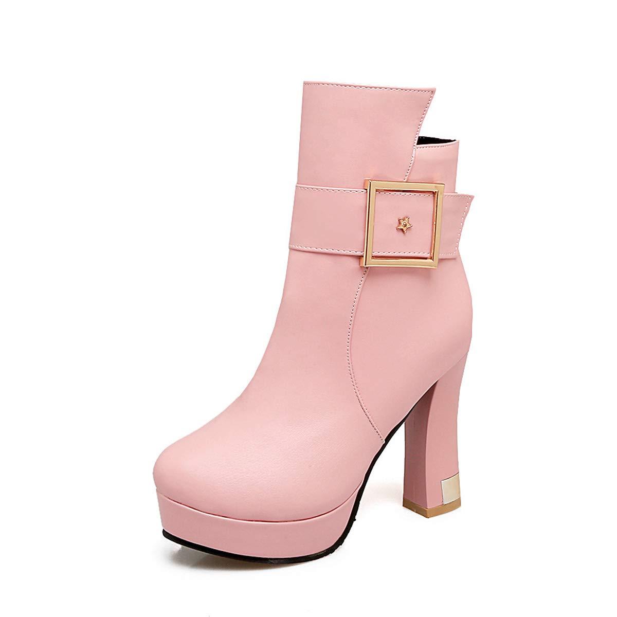 DANDANJIE Frauen Stiefel Plattform High Heel Stiefeletten Damen Chunky Heel Schnalle Herbst & Winter Warme Stiefel Rosa 35EU