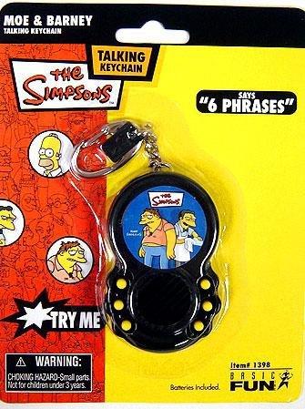 Basic Fun The Simpsons Moe & Barney Talking Keychain