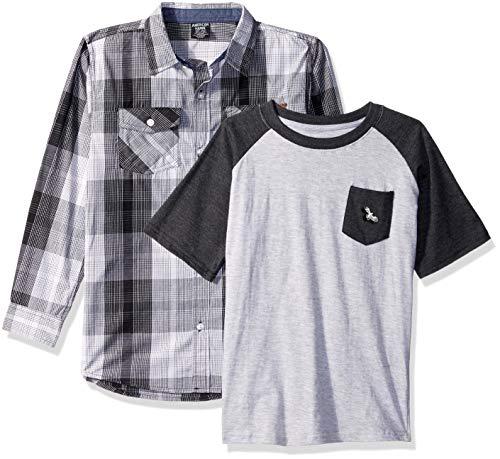 American Hawk Boys Long Sleeve Woven Shirt and T-Shirt Set (More Styles)