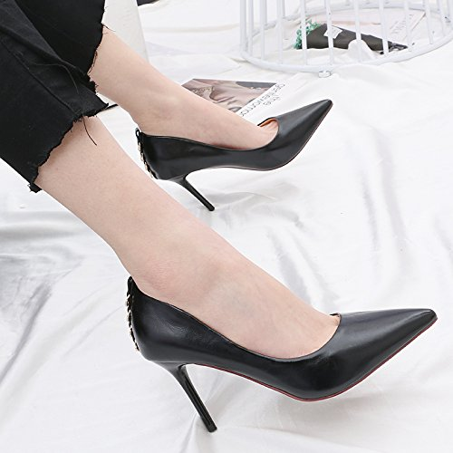 GTVERNH-La Nueva Primavera Verano Consejos 8Cm High Heels Sexy Wild Desglosadas Por La Perforación De Agua Superficial Boca Solo Zapatos Zapatos De Trabajo Beige
