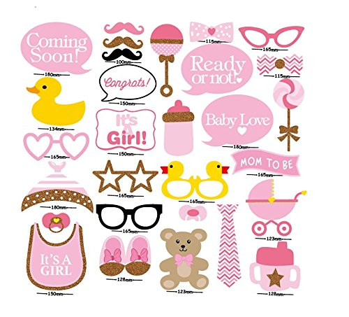 7-gost 29PCS Baby Shower Party Baby Bottle Masks Photo Booth Props On A Stick Pink For Girl By
