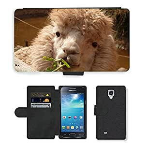 PU LEATHER case coque housse smartphone Flip bag Cover protection // M00130560 Alpaca Lama animal peludo mullido // Samsung Galaxy S4 Mini i9190