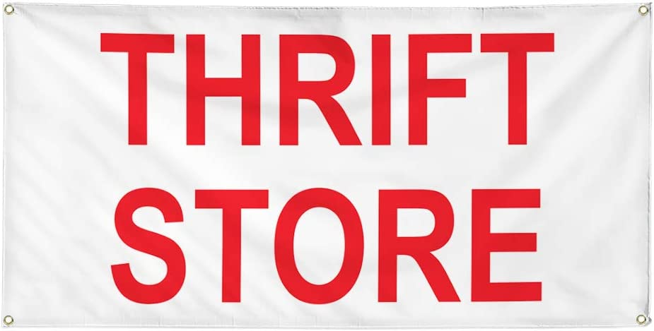 Vinyl Banner Multiple Sizes Thrift Store Red A Business Outdoor Weatherproof Industrial Yard Signs 8 Grommets 48x96Inches