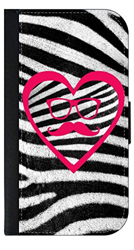 Hipster Elements and Heart on Zebra Print - Wallet Style Flip Phone Case Compatible with s3/s4/s5/s6/s6edge/s7/s7edge/s8/s8Plus - Select Your Compatible Phone Model