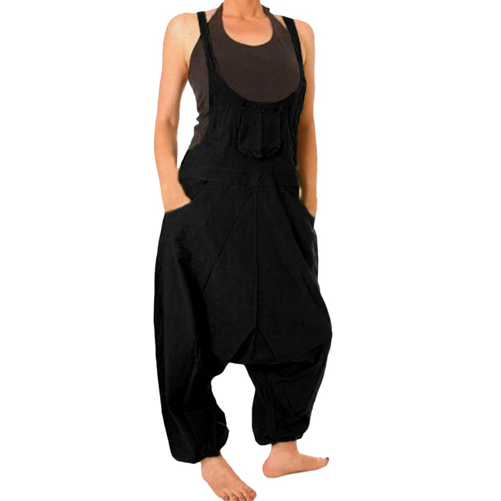 Womens Casual Solid Color Loose Fit Baggy Harem Overall Jumpsuit Sleeveless Spaghetti Strap Long Pants Rompers Daorokanduhp