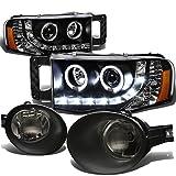 For Dodge Ram Pair of Halo Projector LED Black Housing Amber Corner Headlight+Smoke Lens Fog Light