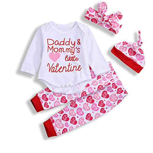 - My First Valentine's Day Baby Pant Outfit Set Newborn Baby Girls Boys Cute Bodysuit 4Pcs Clothes Set (Baby Valentine Gift, 0-3 Months)