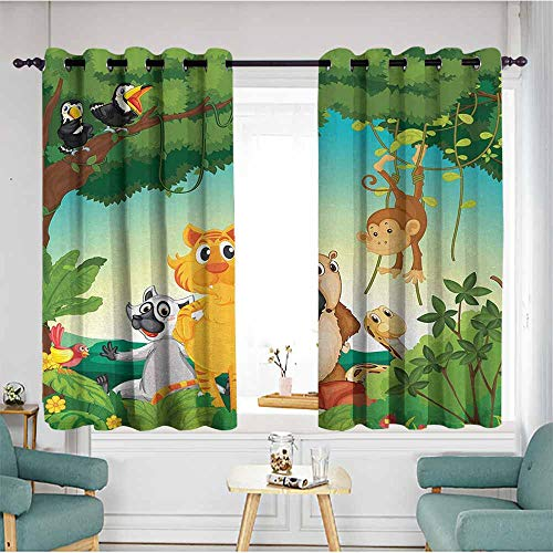 - Beihai1Sun Window Curtain Panel,Zoo,Forest Scene with Different Animals Habitat Jungle Tropical Environment Kids Cartoon,Multicolor,Hipster Patterned,W55x45L