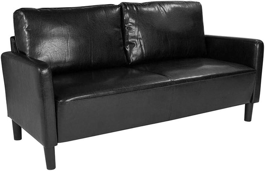 Flash Furniture Washington Park Upholstered Leather Sofa with Straight High Legs, Black