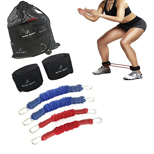 As'kin Sport Kinetic Agility Speed Bands Training Strength Ankle Resistance Bands for Legs with 4 Exercise Fitness Thigh Bands for - Workout Football Basketball Running Taekwondo Yoga and all Sports
