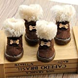 Colorfulhouse Cute Bone Pet Snow Boots Nonslip Winter Dog Boots 4 Pcs