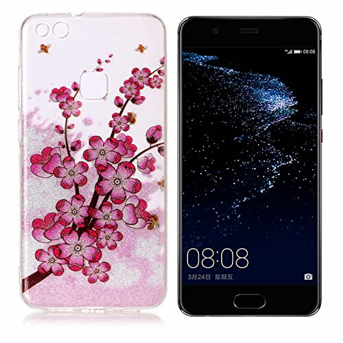 Funda Huawei P10 Lite, P10 Lite Funda Silicona, SpiritSun Soft Carcasa Funda para Huawei P10 Lite (5.2 pulgadas) Trasparente Carcasa Case Cristal Gel Protectora Carcasa Ultra Delgado y Ligero Flexible Flor de Ciruela