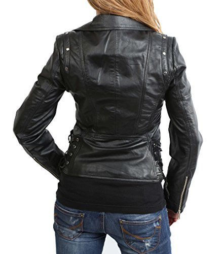 Nero Stile Giacca Croce In Pelle Morbido Giacche Holly Zip Biker Attrezzato Uomo Vera w7B7TqZ4