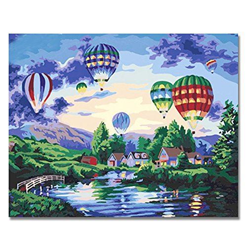 Christmas Paintings - Rihe Diy Oil Painting by Numbers -Hot Air Balloon- PBN Kit for Adults Girls Kids White Christmas Decor Decorations Gifts 16x20inch (Frameless)