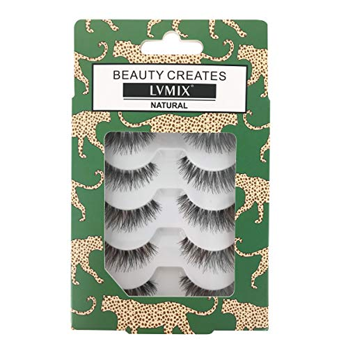 LVMIX Fake Eyelashes Demi Wispies Natural False Lashes Reusable 100% Handmade (5 Pairs)