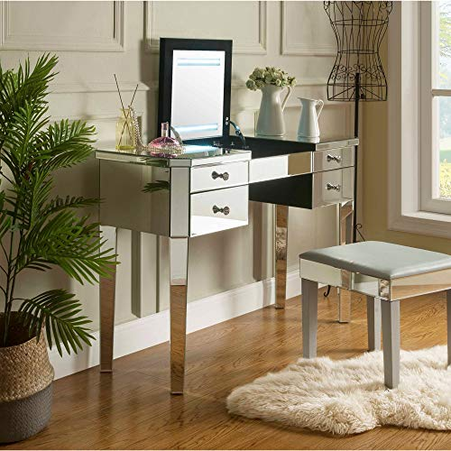- Inspired Home Mirrored Vanity Table - Design: Marabelle | 4 Drawers Lift-up Top | LED | Jewelry Holder | Cosmetics Organizer