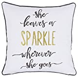 ADecor Pillow Covers She leaves a sparkle wherever she goes Pillowcase Embroidered Pillow cover Decorative Pillow Standard Cushion Cover Gift Love Couple Teen Inspiration quote pillow (18X18, Ivory)