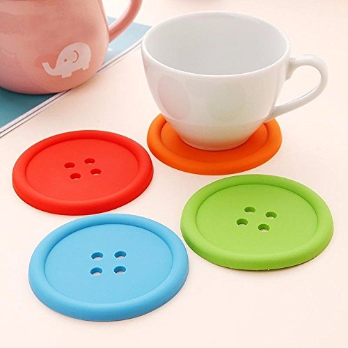 Unmengii Soft Cute Colorful Silicone Button Coaster Cup Mat Drink Holder Placemat