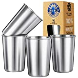 Kids Stainless Steel Cups 6oz (Set of 4) – Metal Drinking Glasses - Premium Stackable & Shatterproof - Travel, Lightweight, Unbreakable, Portable, BPA Free